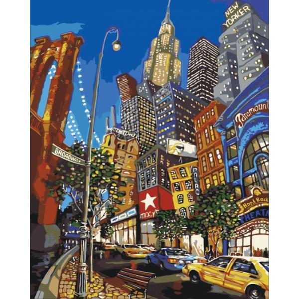 Раскраска по номерам 40х50 ИДЕЙКА По улицам Нью-Йорка ...